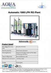 RO Plant 1000 LPH