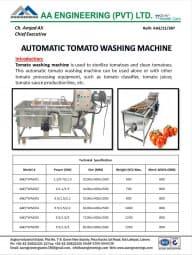 Automatic Tomato Washing Machine