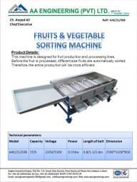 Fruits & Vegetable Sorting Machine